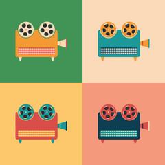 Colorful set of retro video projectors.