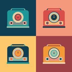 Colorful set of retro radio receivers.