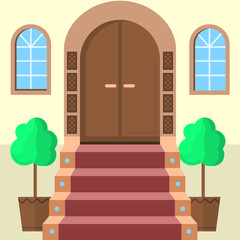 Flat illustration of facade doors with stairs