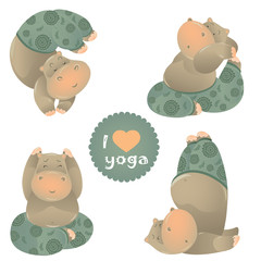 Cute animal illustration of yoga pose