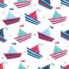Cute ships seamless pattern