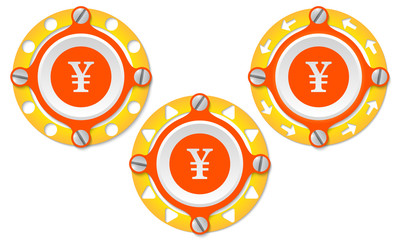 Set of three icons with perforated ring and yen symbol