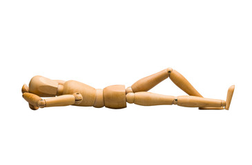 Wooden mannequin lying down