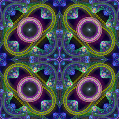 Multicolored symmetrical grid fractal pattern. Computer generate