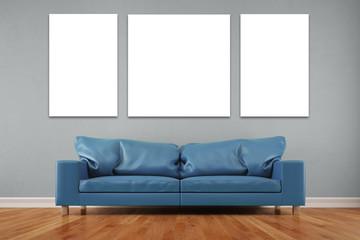 Dreiteiliges Wandbild im Wohnzimmer