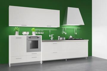 Einbauküche an grüner Wand in Küche