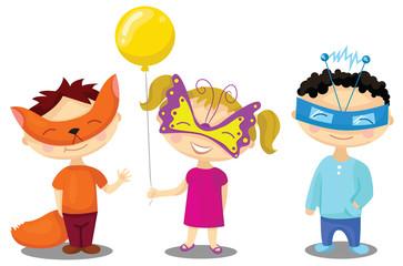Children in masquerade costumes