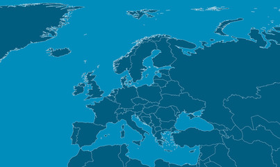 Europe Map - Blue with white outlines