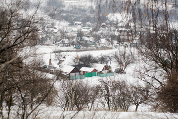 A typical Ukrainian village winter in central Ukraine