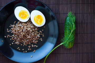 Buckwheat porridge with chicken eggs