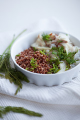 Buckwheat porridge with white fish