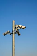CCTV security with blue sky