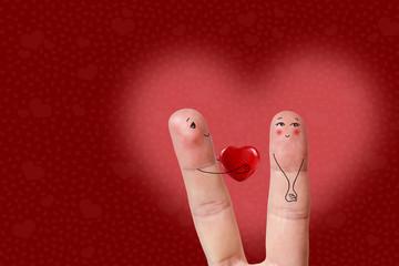 Happy Valentine's Day theme series. Finger art of  Happy couple.