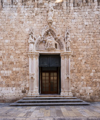 entrance in Franciscan Monastery. Dubrovnik. Croatia.