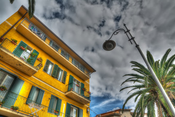 lamppost and yellow building