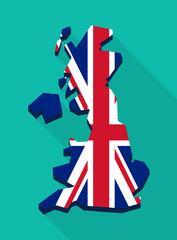 United Kingdom map with the Union Jack
