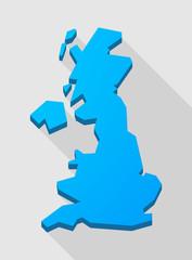 blue long shadow United Kingdom map