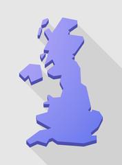 Purple long shadow United Kingdom map