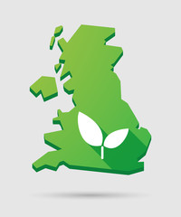 United Kingdom map icon with a plant