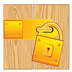 Door and lock gold