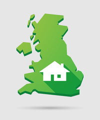 United Kingdom map icon with a house