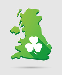 United Kingdom map icon with a clover