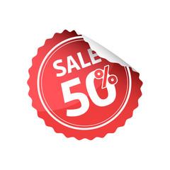 Sale 50% Off Red Round Sticker