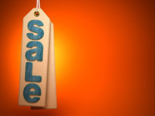 Paper label with denim SALE word on orange background