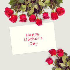 Greeting card with red roses