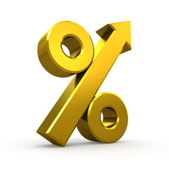 Gold percent symbol with arrow on white background