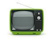 Green retro TV on white background