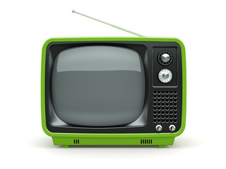 Green retro TV on white background