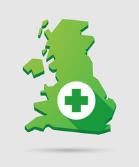 United Kingdom map icon with a pharmacy sign