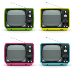 Multicolored retro TV on white background