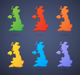 United Kingdom map icon set