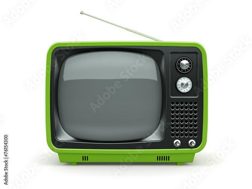 obraz PCV Zielona retro TV na białym tle