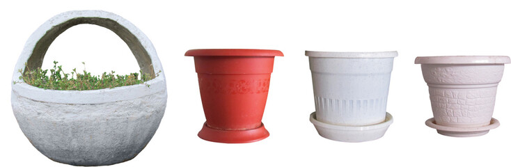 Flower pots and a basket of concrete, decorative