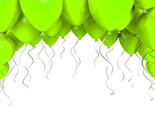 Green party ballons on white background