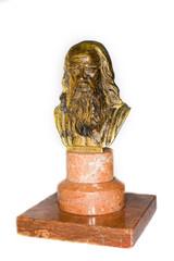 Bronze Bust of a brilliant scientist Leonardo Da Vinci on a whit