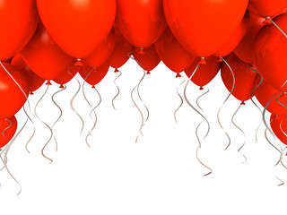 Red party ballons on white background