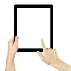 adult man hands using generic tablet pc with white screen