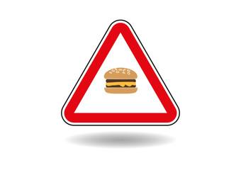 Warning sign, cheeseburger