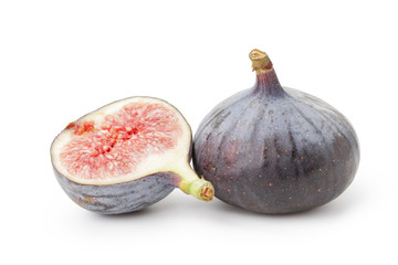 Fresh sliced figs isolated on white