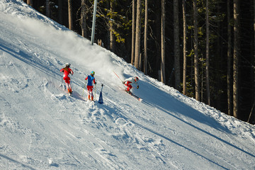 Downhill skiers on  piste