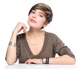 Young beauty woman with short bob hairstyle, beautiful makeup