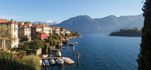 Sala Comacina, lake of Como. The small gulf with the harbor and