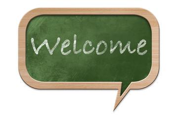 Welcome on a Speech bubble shaped Blackboard