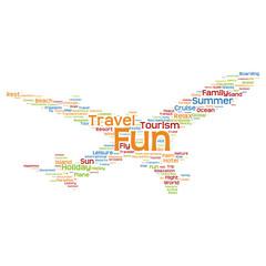 Vector conceptual travel or tourism plane word cloud