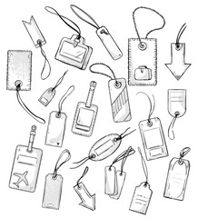 set of various tags tags. vector illustration