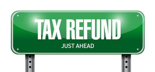 tax refund road sign illustration design